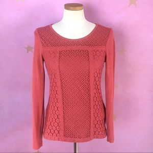 Lucky Brand Tops - Lucky Brand Lace Patched Thermal Shirt Coral Top